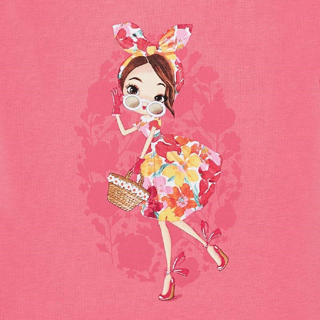Mayoral Short sleeved doll t-shirt with bow for girl in Geranium