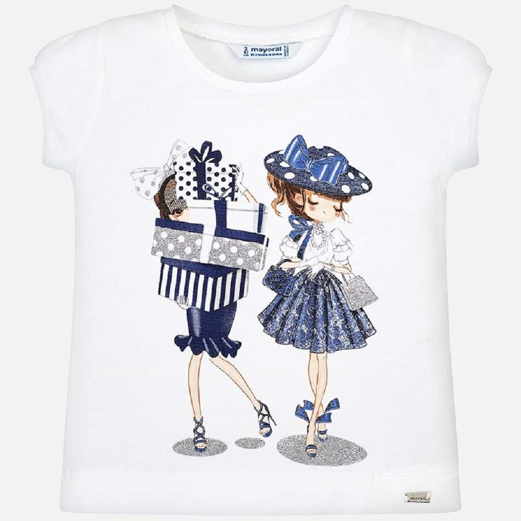 Mayoral Short sleeved dolls t-shirt for girl in Navy