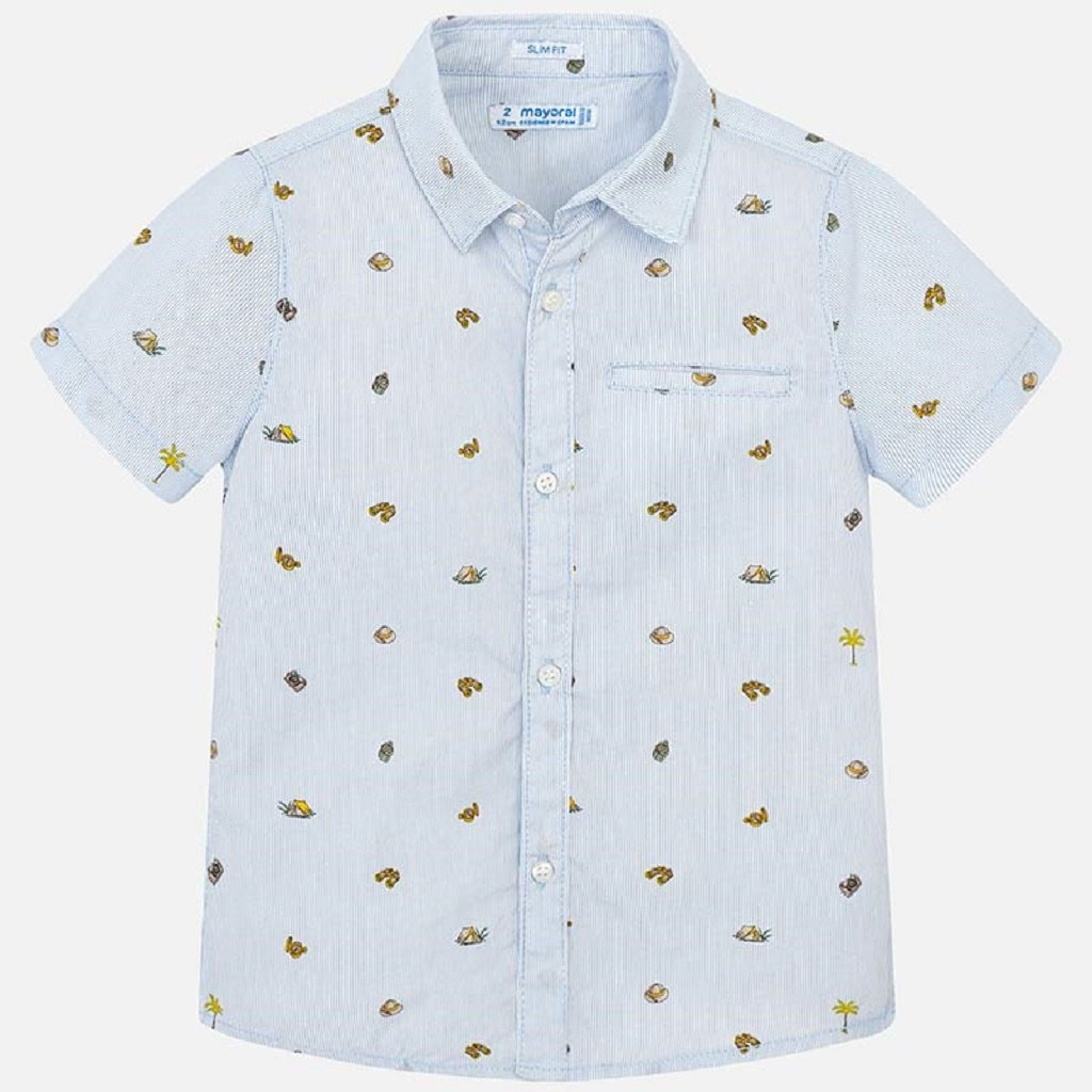 Mayoral Short sleeved patterned shirt for boy in Sky blue