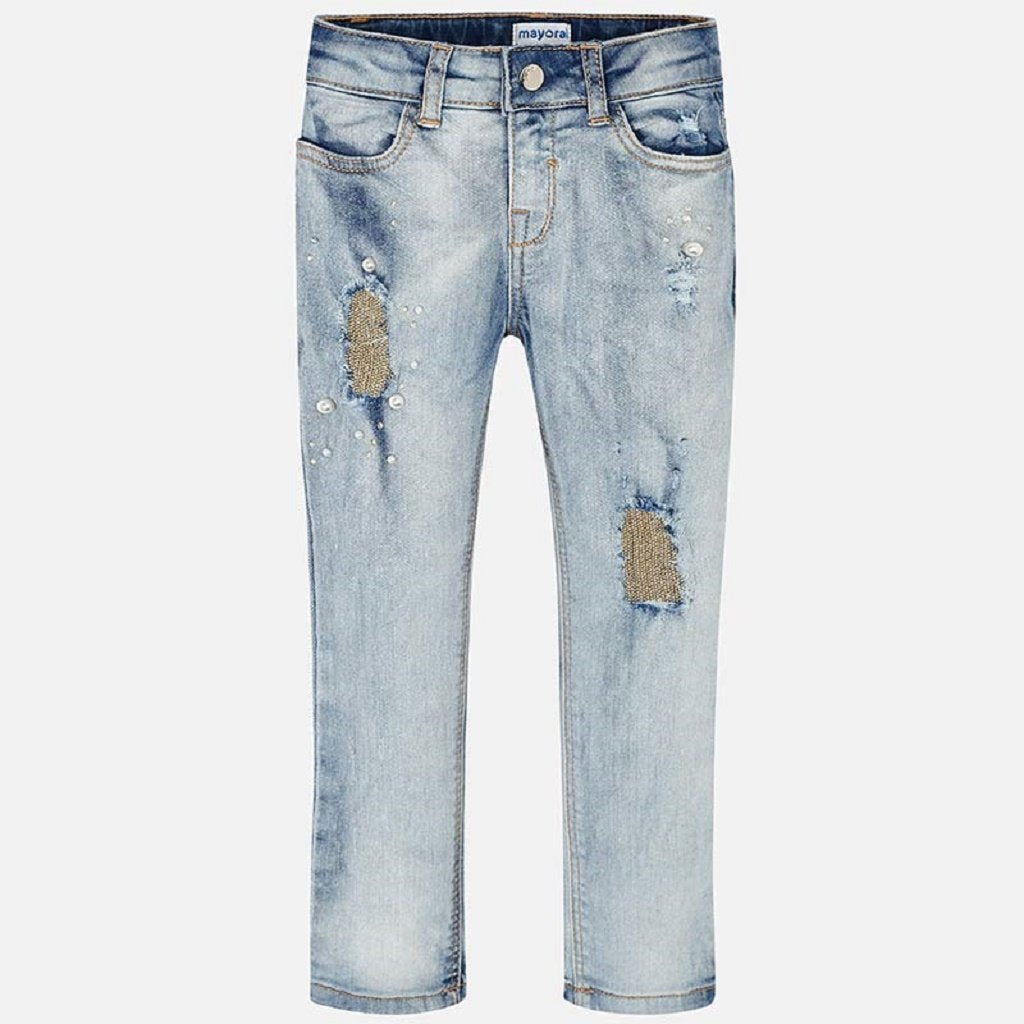 Mayoral Fantasy jeans for girl in Bleached