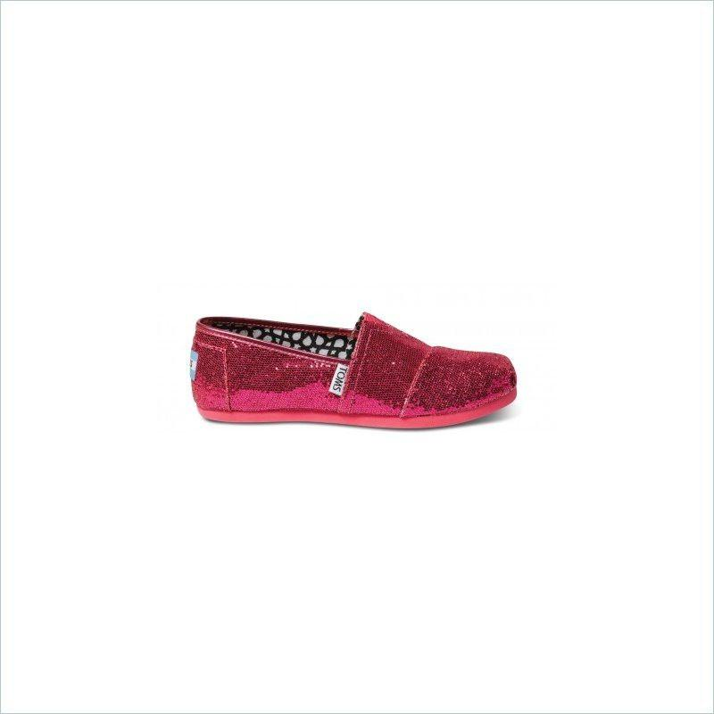 Toms Youth Classic Shoes In Hot Pink Glitter
