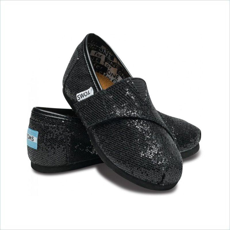 Toms Tiny Classic Shoes In Black Glitter