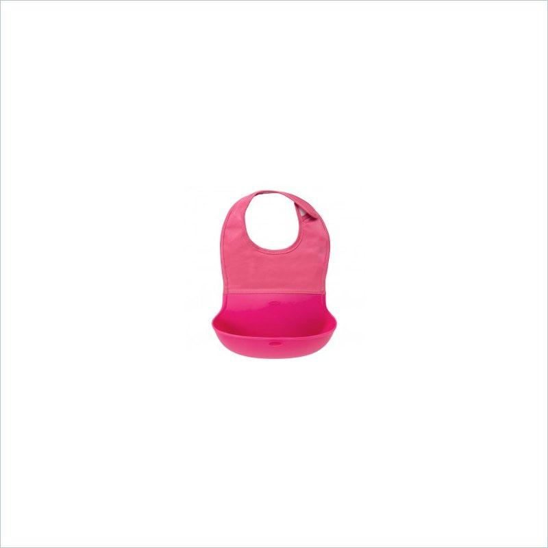 OXO TOT Silicon Roll-Up Bib in Pink