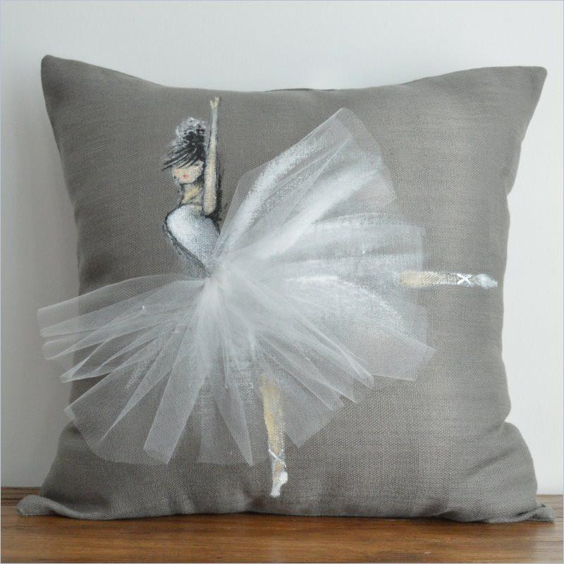Shenasi Concept Jumping Ballerina Pillow Cover with White tutu on Grey Background