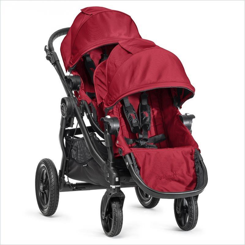 Baby Jogger City Select Black Baby Stroller and Second Seat Set in Red