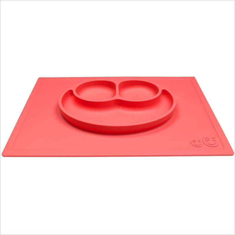 ezpz Less Mess Happy Mat  Plate and Placemat in Coral