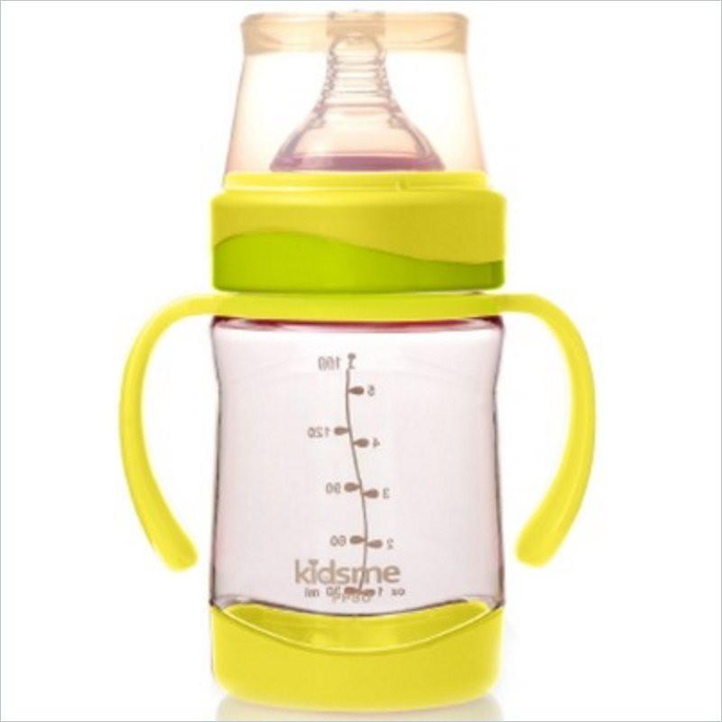 Kidsme PPSU Wide Neck Milk Bottle 160ml with handle in Lime