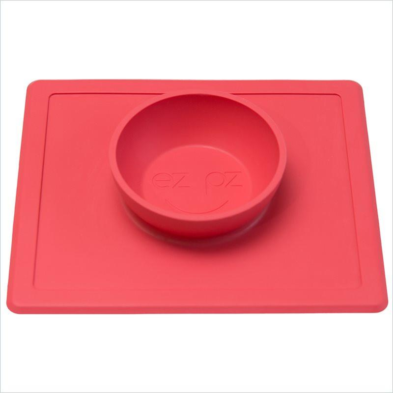 ezpz Happy Bowl and Placemat in Coral