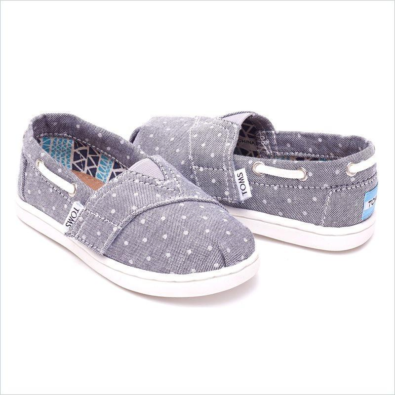 Tiny Toms Biminis in Grey Chambray Polka Dot