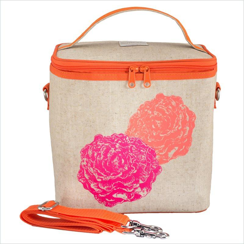 SoYoung Neon Orange and Pink Peonies Large Cooler Bag Uncoated Linen