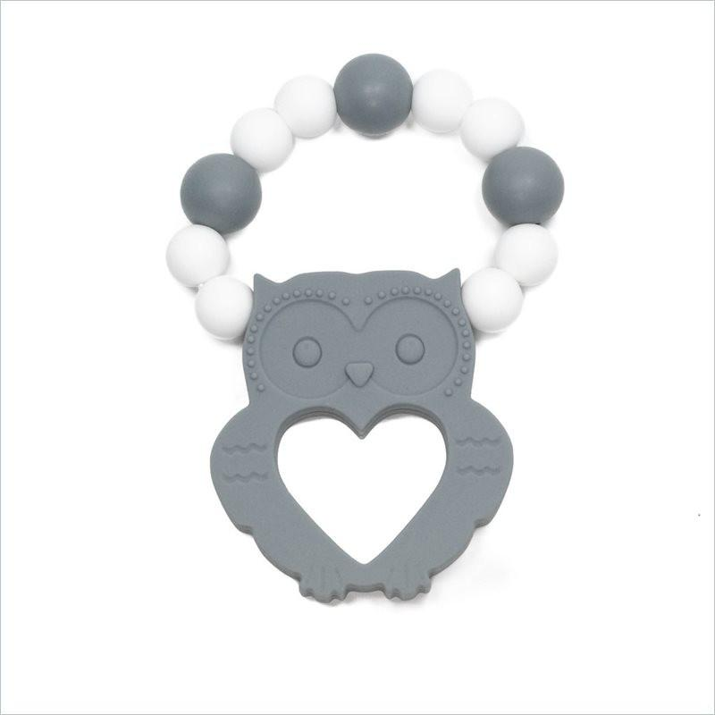 Glitter & Spice Owl Teether in Gray