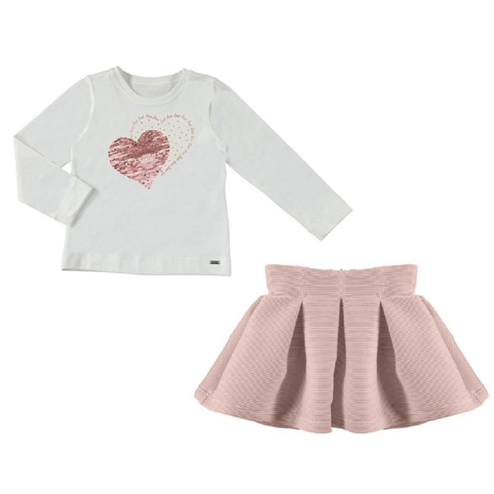 Mayoral Heart skirt and t-shirt set for girl