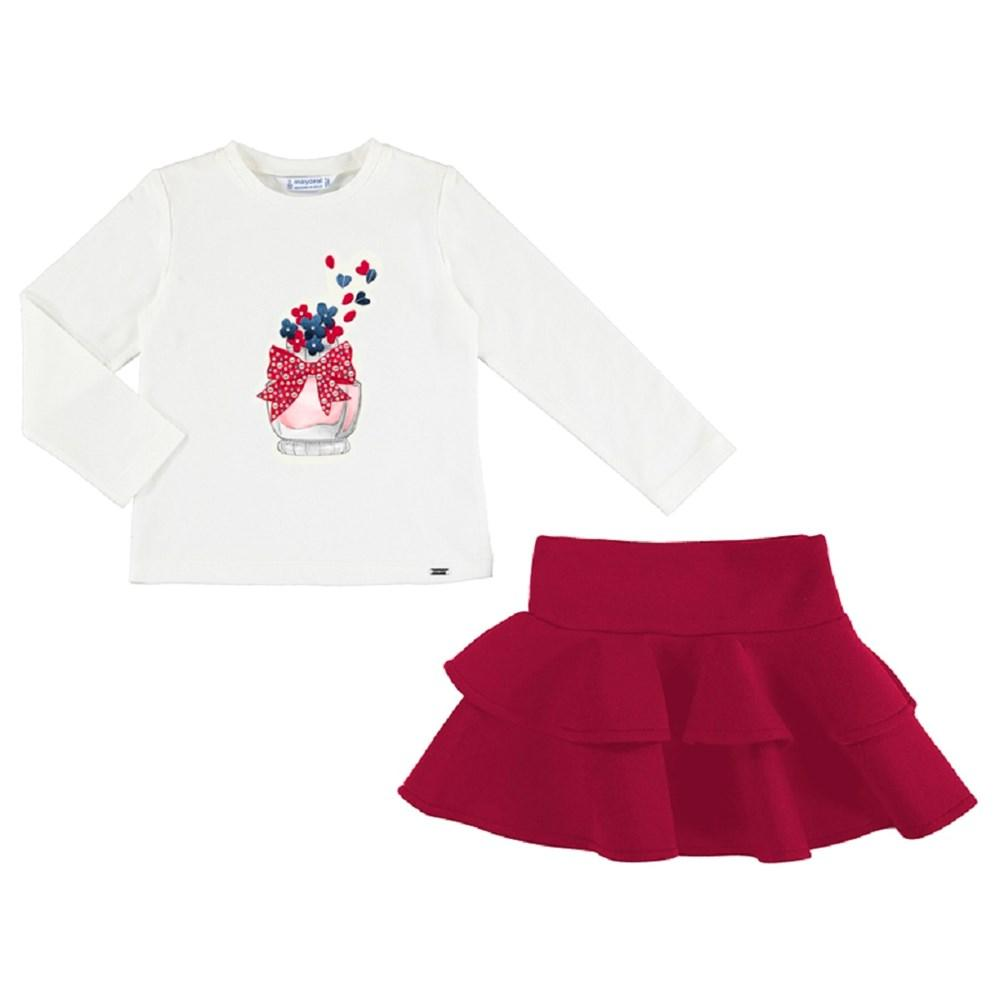 Mayoral T-shirt and ruffle skirt set for girl