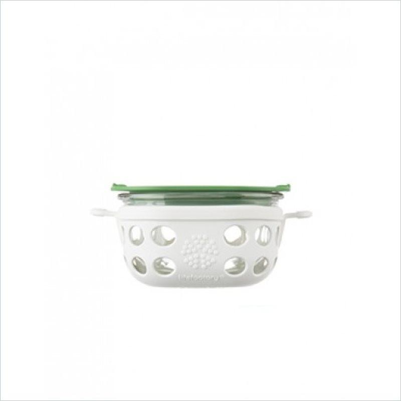 Lifefactory 240 ml (1 cup) Glass Food Storage in Optic White and Grass Green