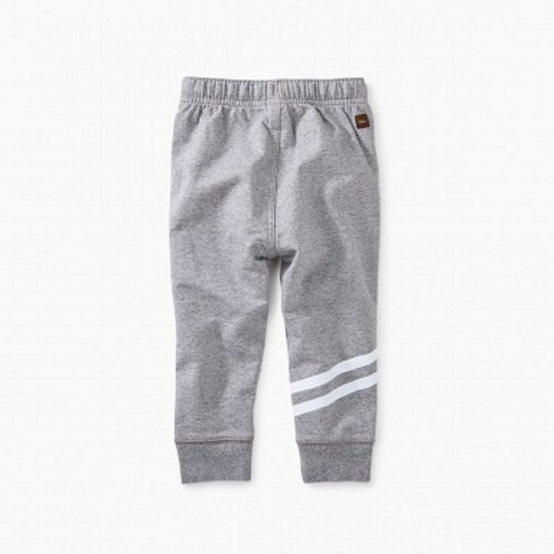 Tea Collection Sporty Stripe Baby Joggers for baby boy in MED HEATHER GREY