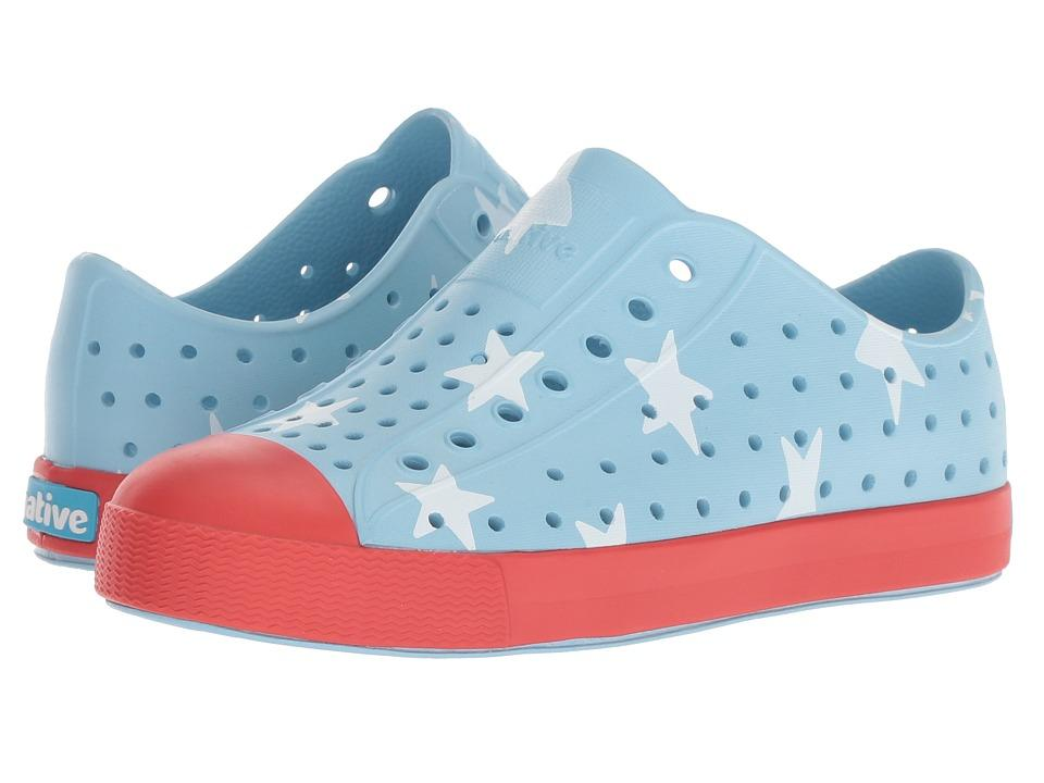 Native Shoes Jefferson Print Child in SKY BLUE / TORCH RED / BIG STAR