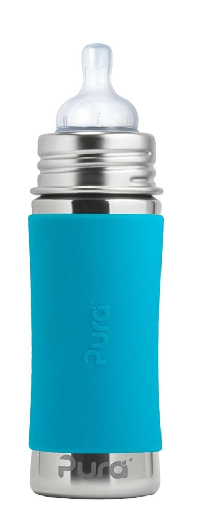 Pura Kiki Medium Flow Stainless Steel 325ml Bottle in Natural with Aqua Sleeve