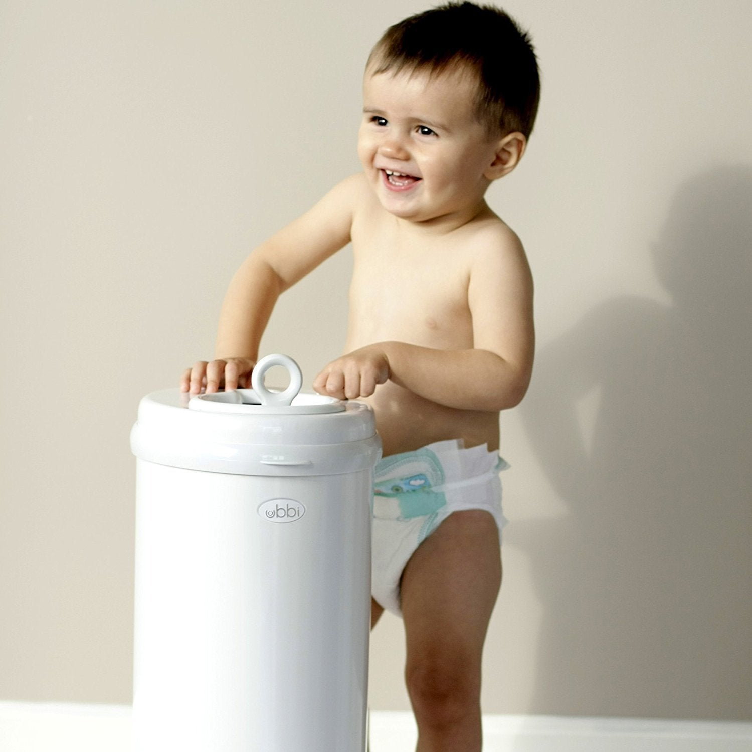 Ubbi Diaper Pail in Grey Wood Grain