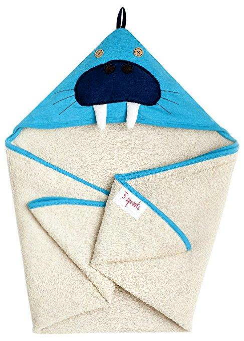 3 Sprouts Walrus Hooded Towel in Blue