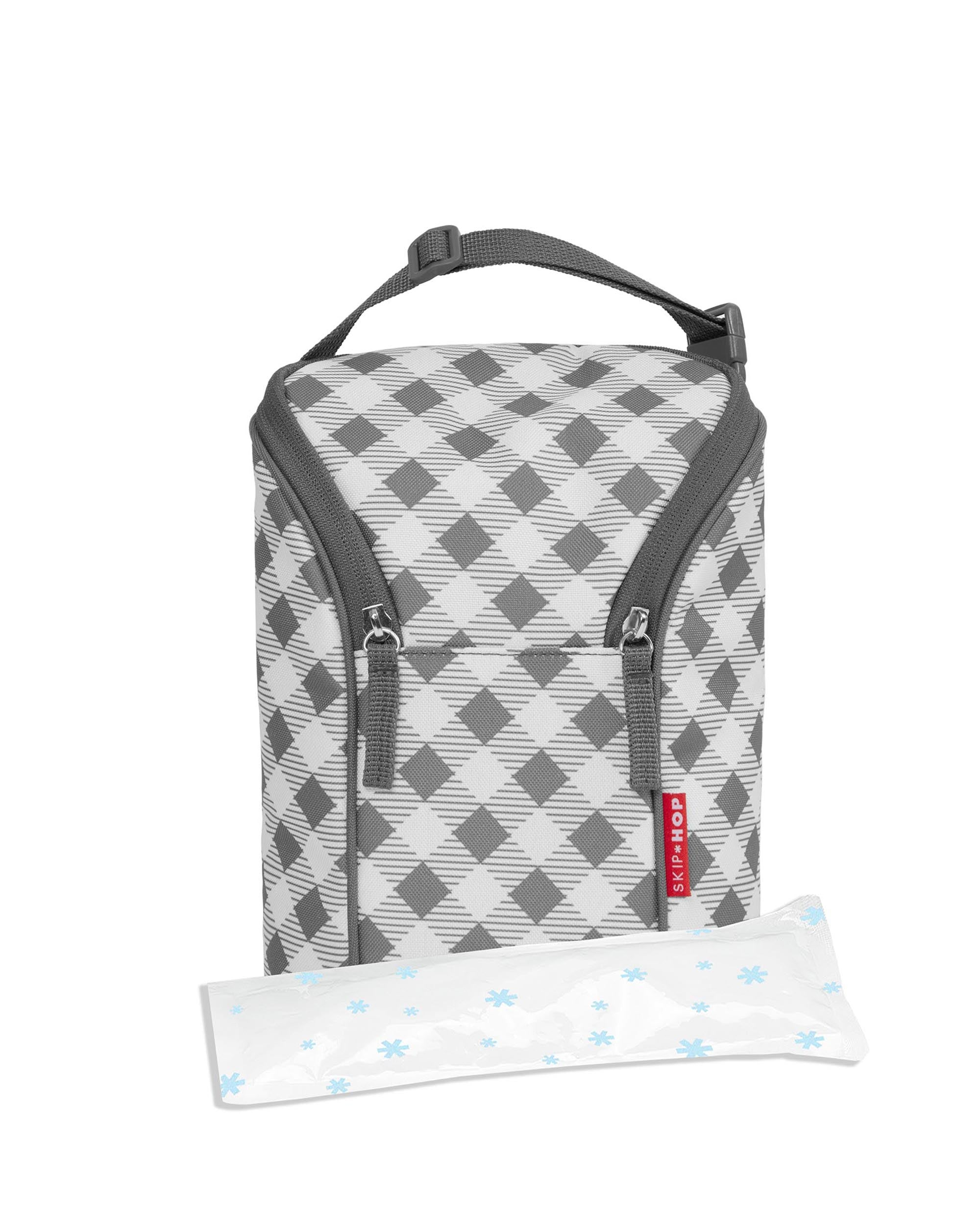 Skip Hop Grab & Go Double Bottle Bag in Gingham