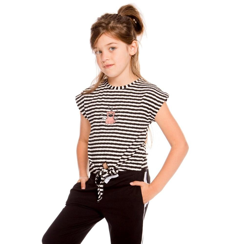 Minimome CROP TOP BLACK & WHITE STRIPED WITH DOG DISGUISED AS UNICORN For GIRL