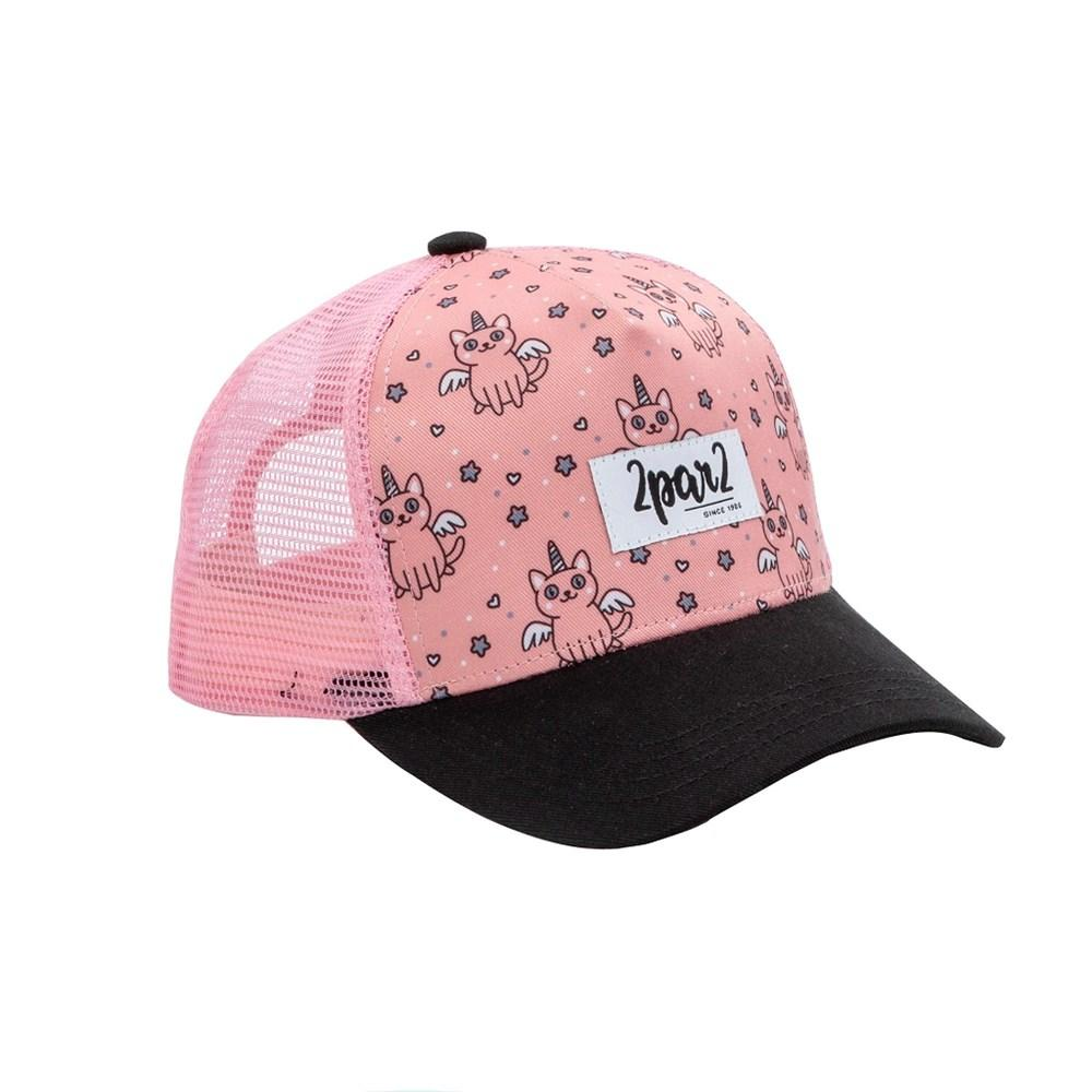 Minimome PINK PRINTED CAP WITH CATS DISGUISED AS UNICORN For GIRL