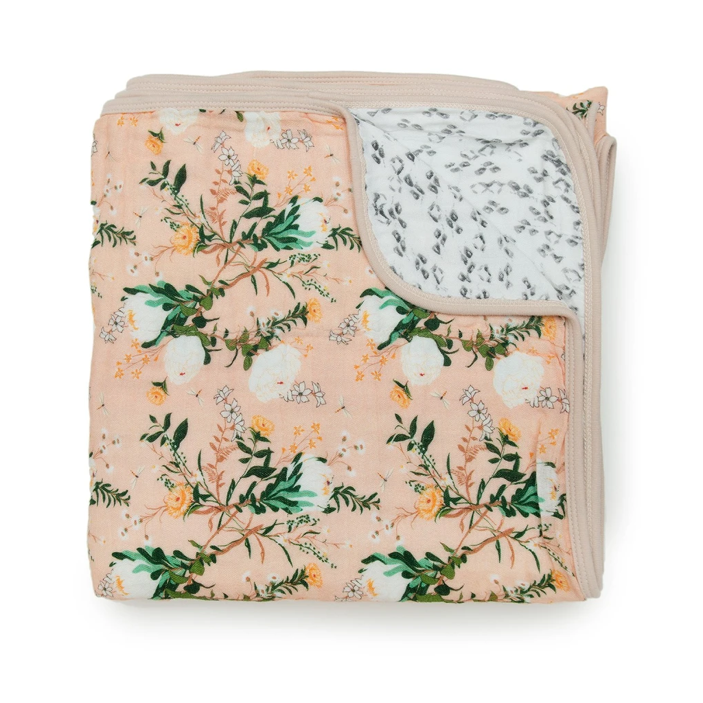 Loulou Lollipop Muslin Quilt Blanket - Blushing Protea