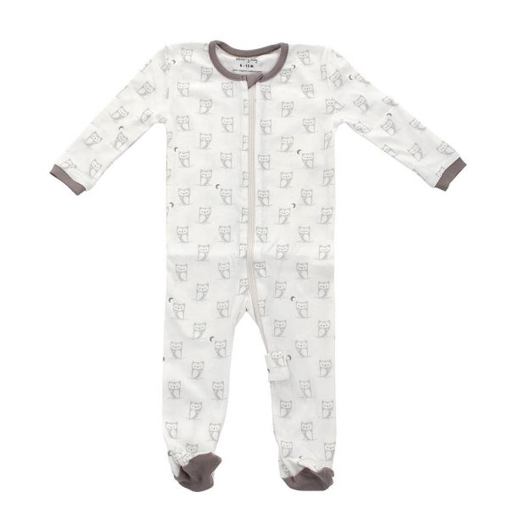 Silkberry Baby Organic Cotton Footed Sleeper Silver cloud owl print