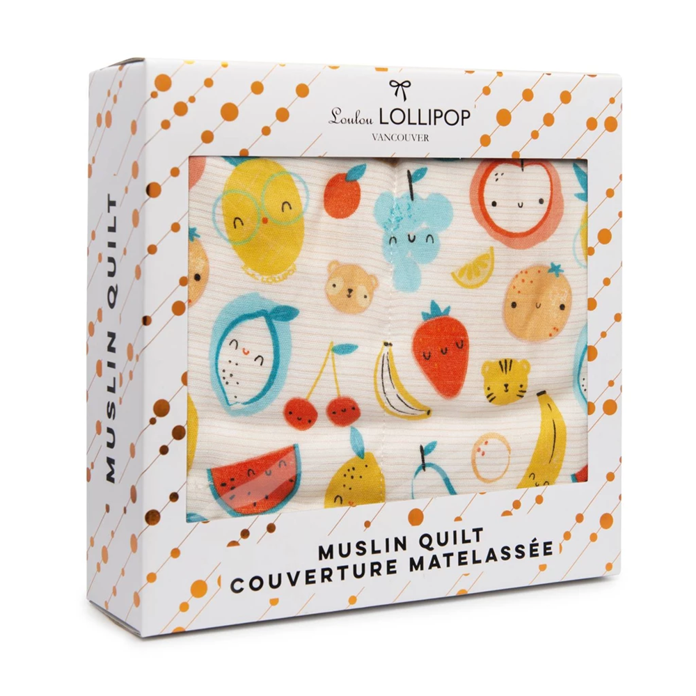 Loulou Lollipop Muslin Quilt Blanket - Cutie Fruits