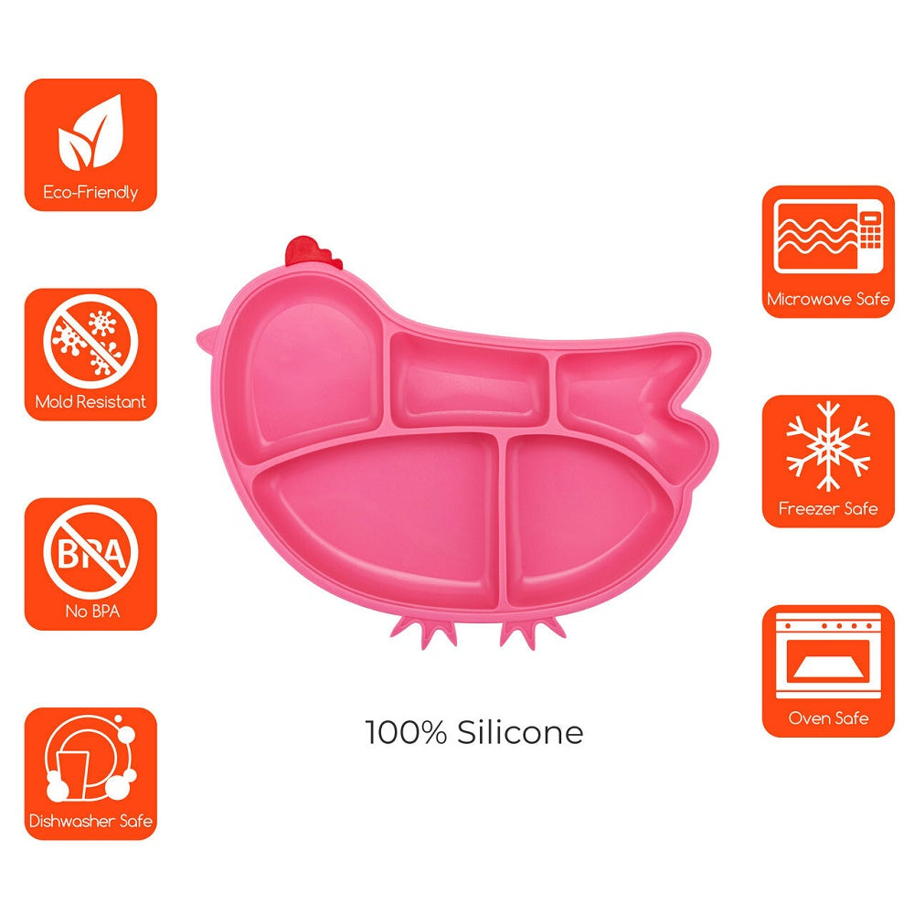 Innobaby Silicone Suction Divided Plate - Chicken/Pink