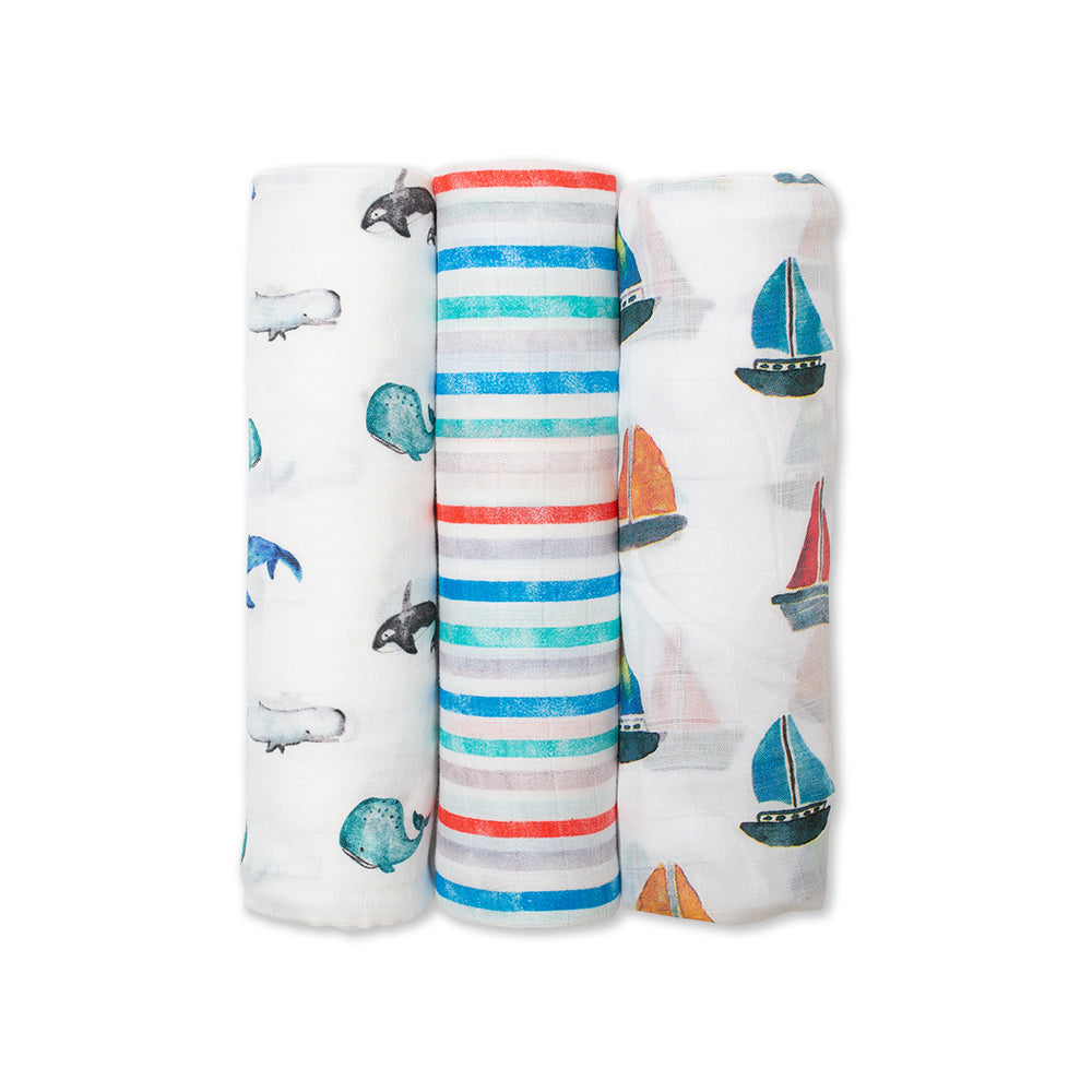 Lulujo 3pk Swaddle Blanket Bamboo Cotton - Out At Sea