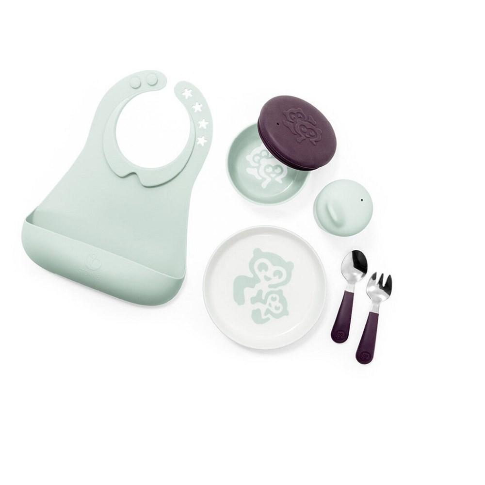 Stokke Munch Complete in Soft Mint (Bowl, Cup, Plate, Fork, Spoon & Bib)