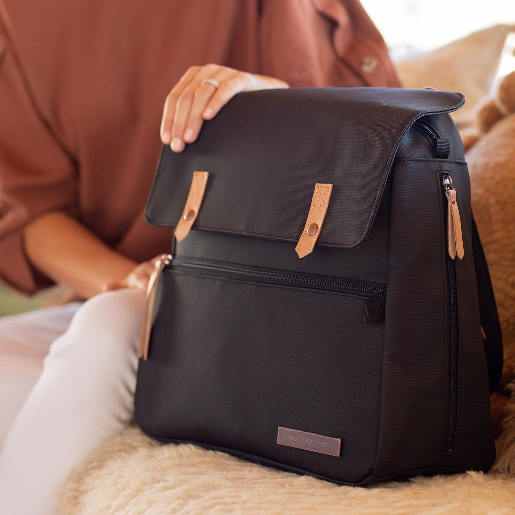 Petunia Pickle Bottom Meta Backpack: Black matte Canvas