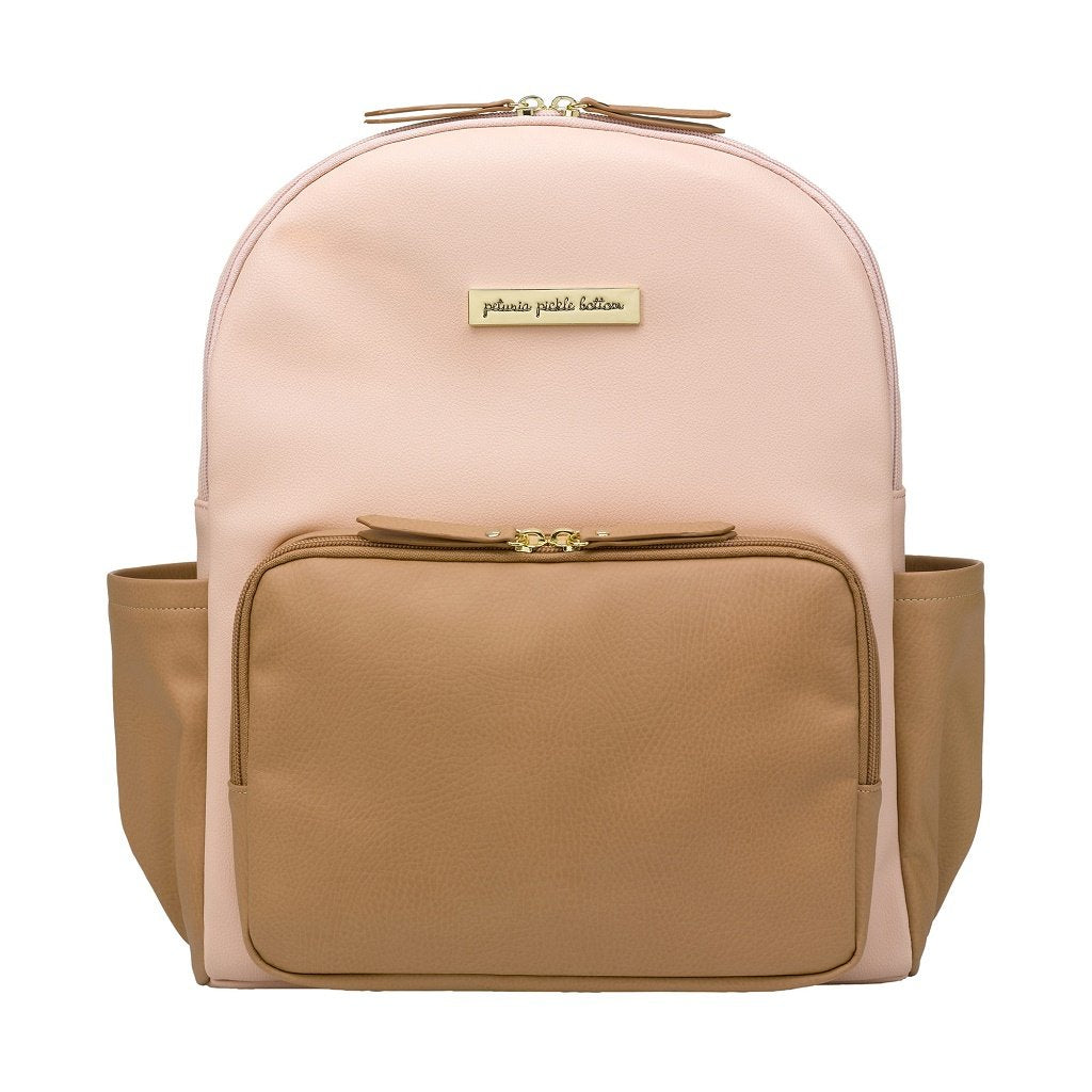 Petunia Pickle Bottom District Backpack - Blush/Camel Leatherette
