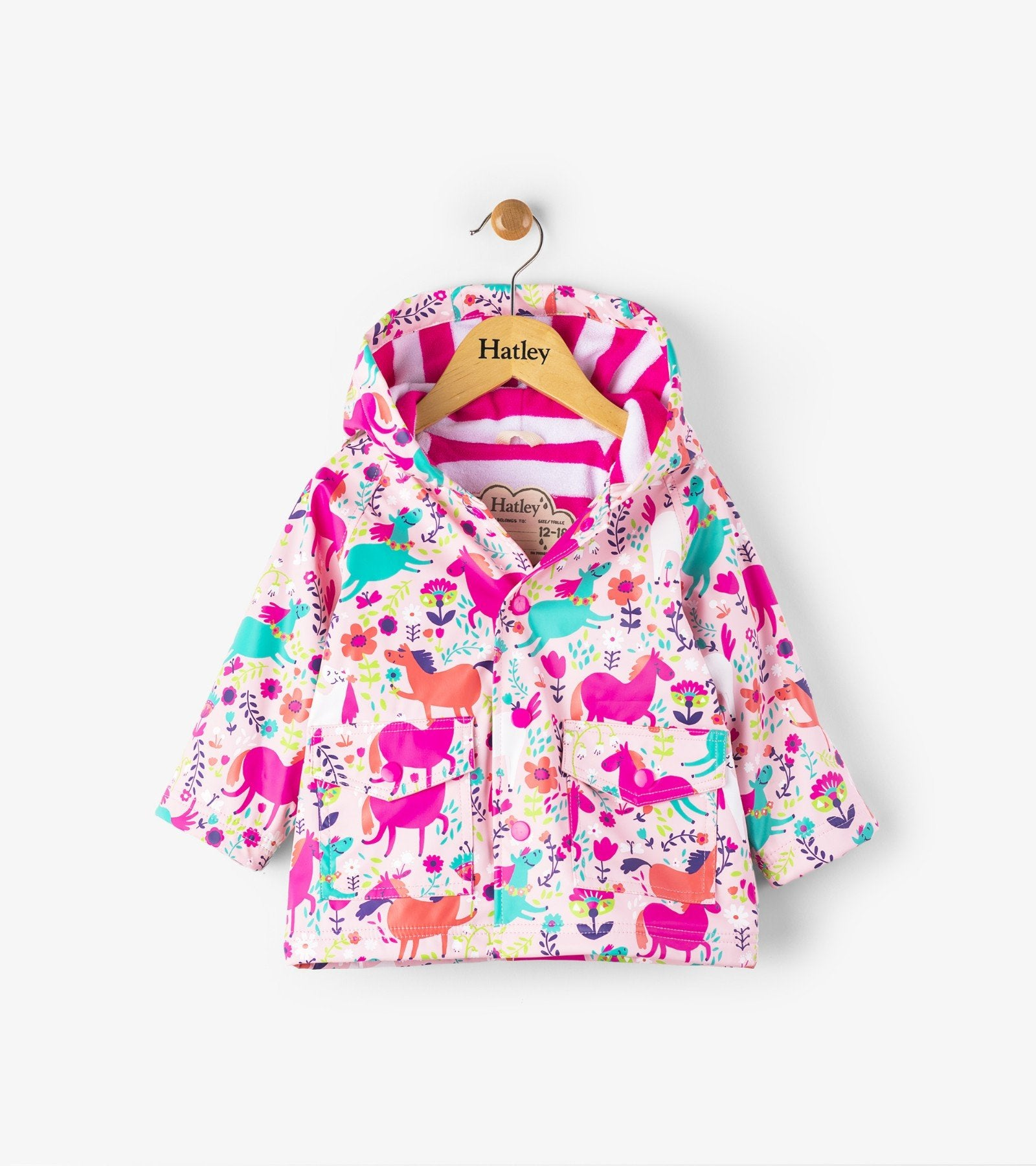 Hatley roaming horses mini raincoat in Pink
