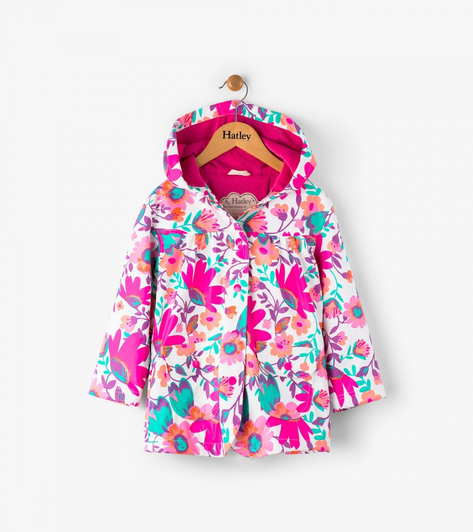 Hatley tortuga bay floral classic raincoat in White