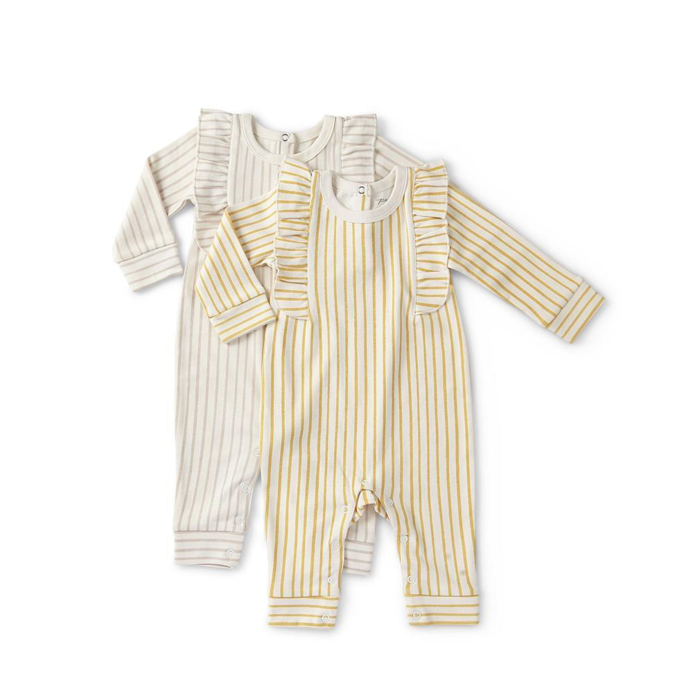 Pehr Designs Stripes Away Ruffle Romper Marigold