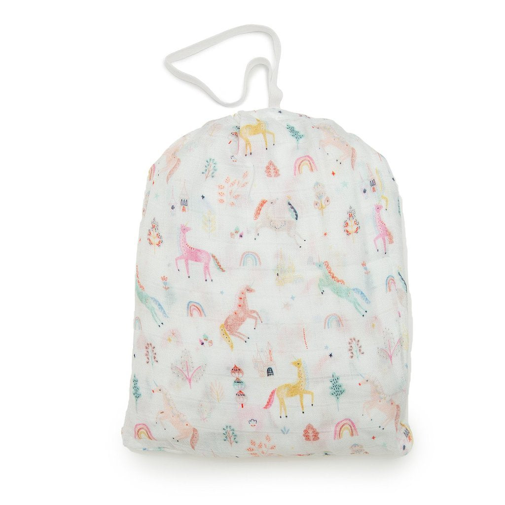 Loulou Lollipop Fitted Crib Sheet - Unicorn Dream
