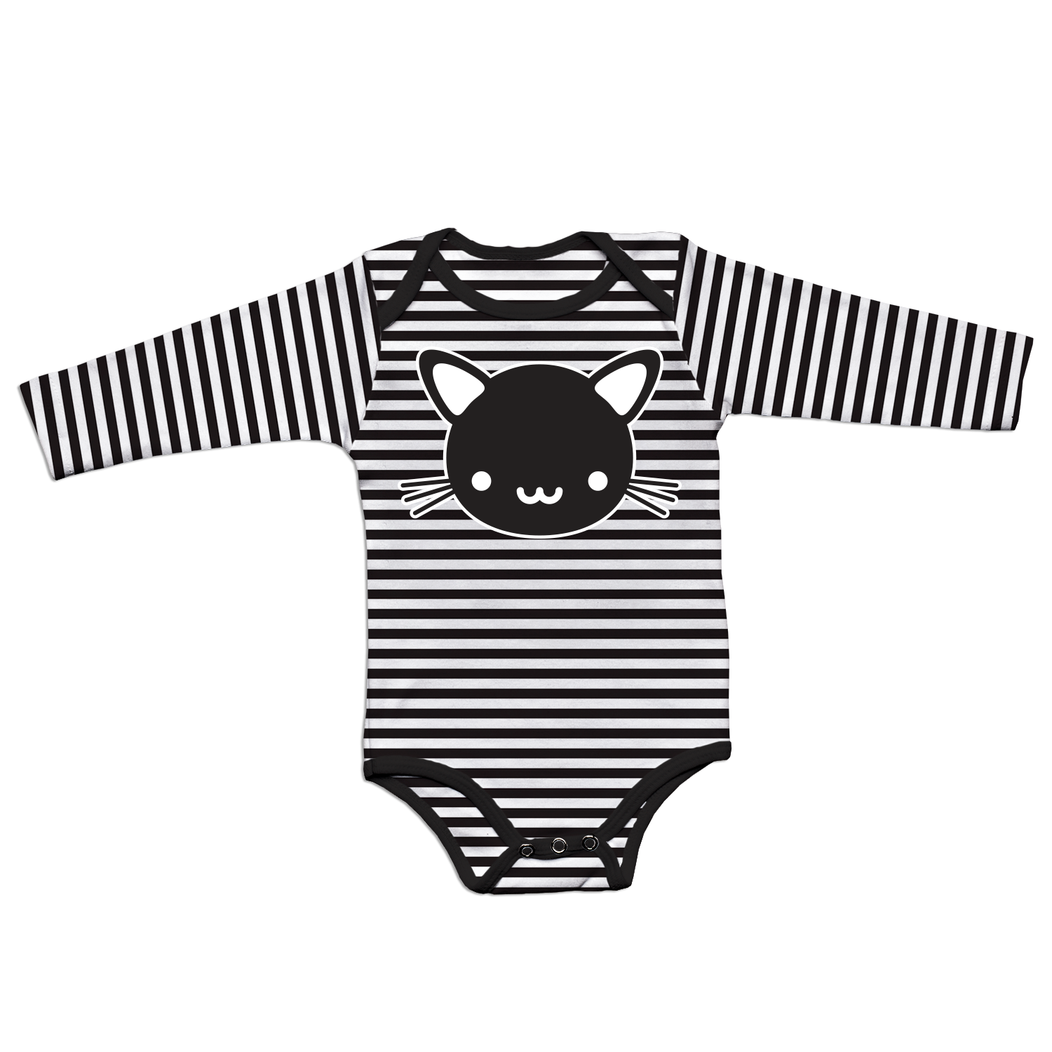 Whistle and Flute Kawaii Cat Striped Bodysuit