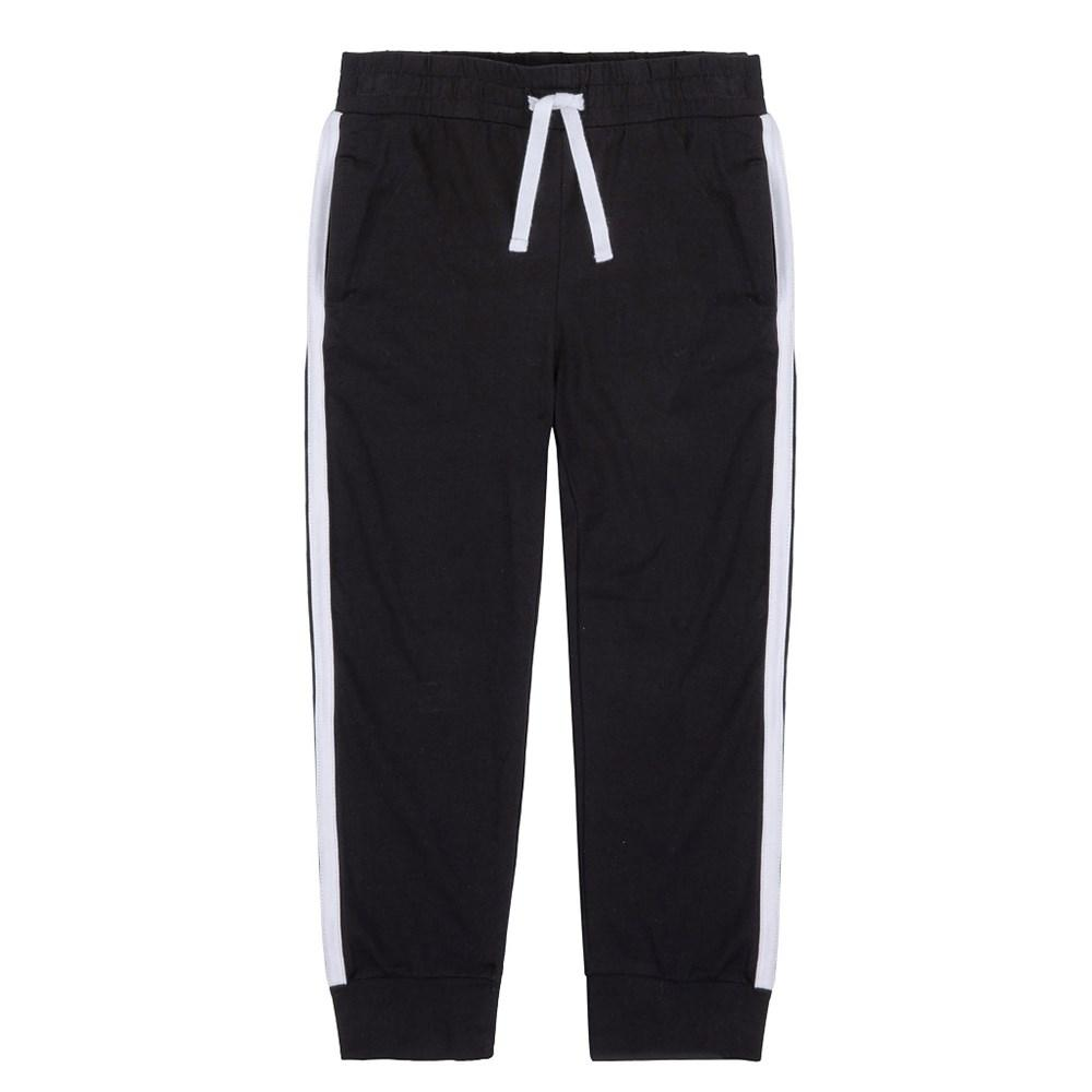 Minimome JERSEY BLACK SWEATPANTS WITH WHITE BANDS AT SIDES