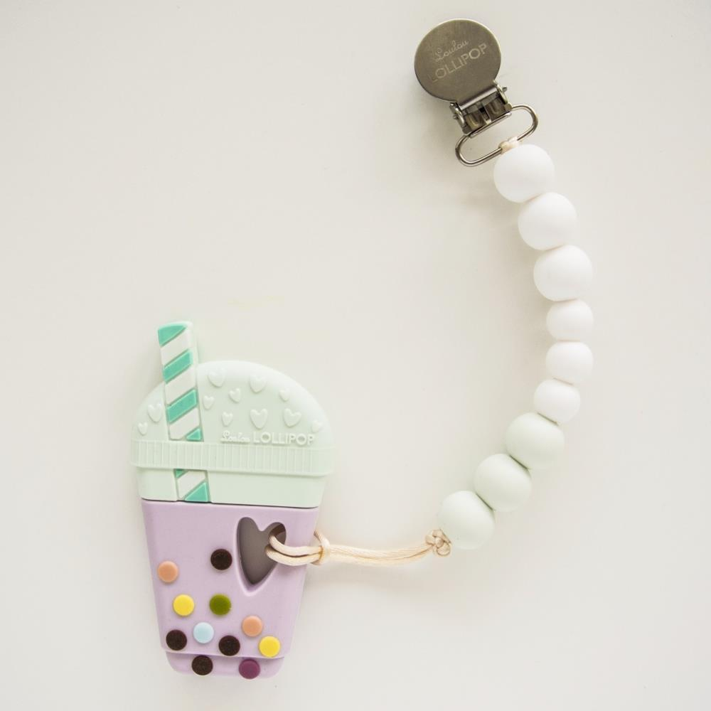 Loulou Lollipop Bubble Tea Teether with Holder in White Mint