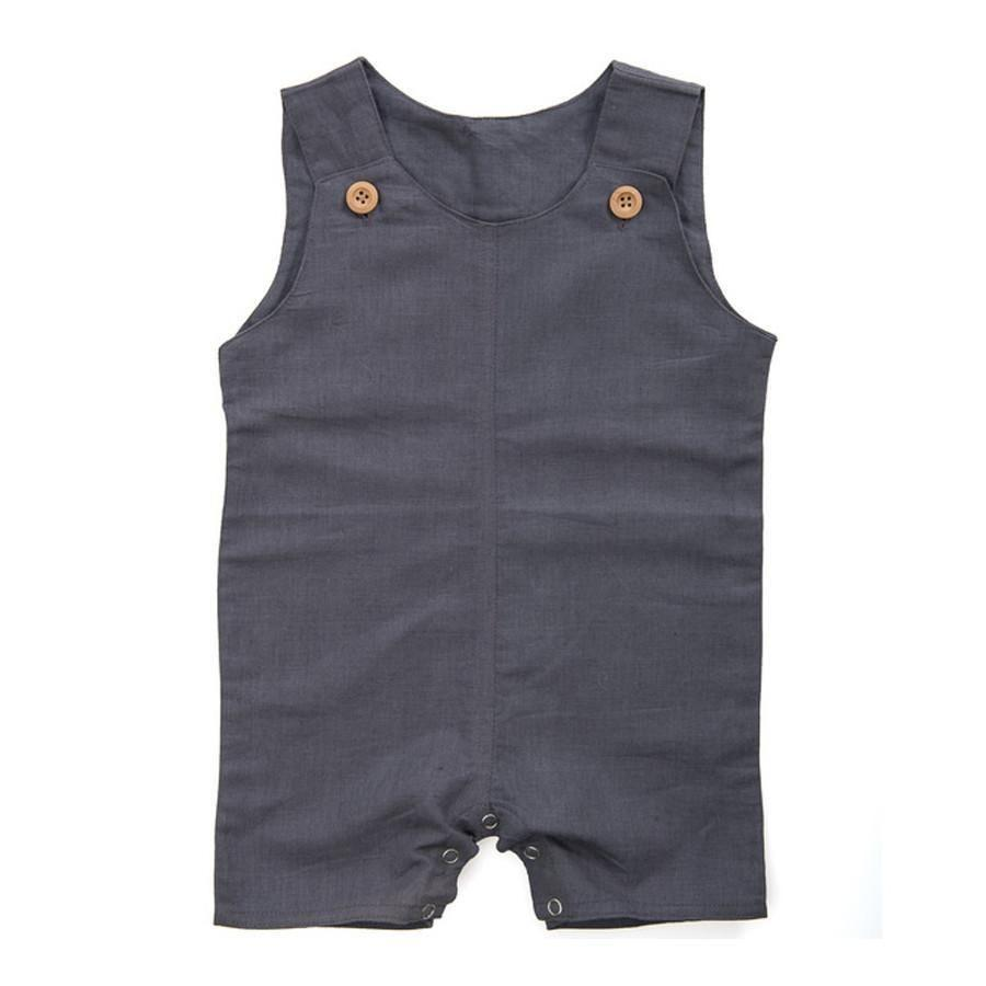 Beba Bean Sleeveless Linen Romper in Grey