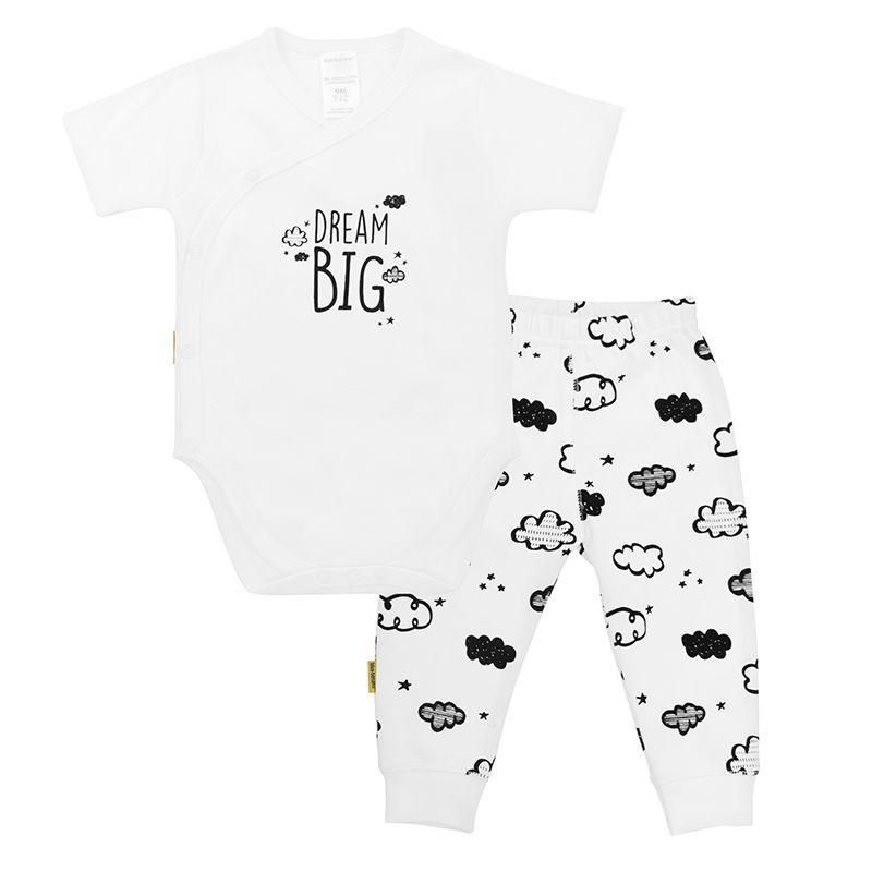 Kushies B & W Neutral SS Wrap Bodysuit & Pant Set