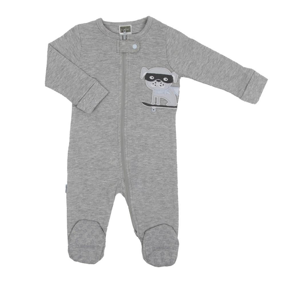 Kushies Hello FRONT ZIP SLEEPER heather in Light Grey
