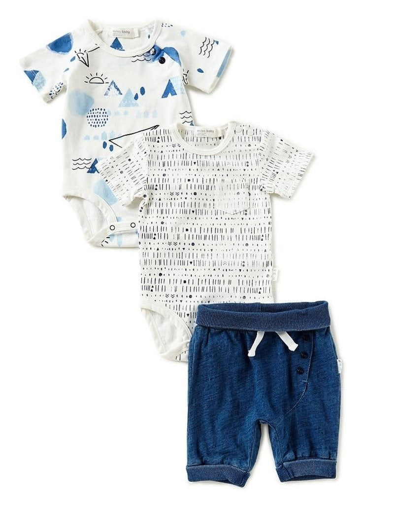 Miles Baby Baby 3Pc Set:  2 Diaper Shirts & Shorts Knit in White