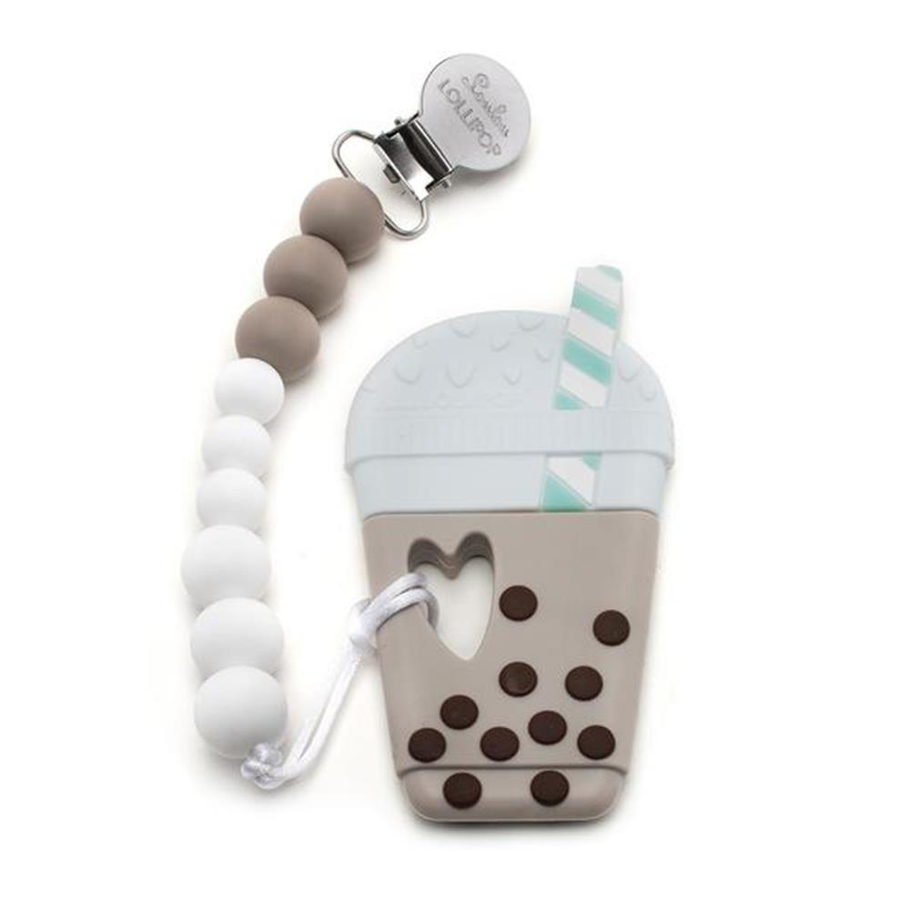 Loulou Lollipop BUBBLE MILK TEA SILICONE TEETHER HOLDER SET IN TAUPE