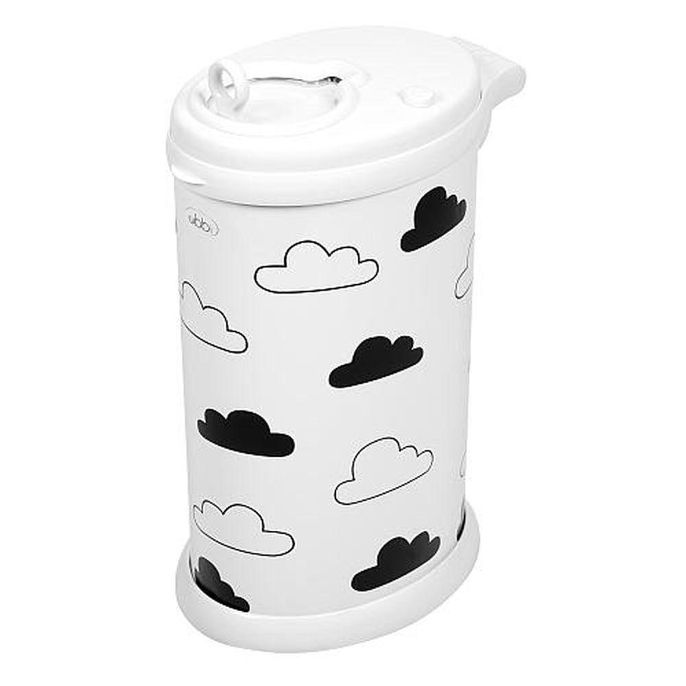 Ubbi Diaper Pail in White with Clouds