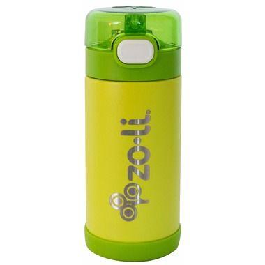 ZoLi POW SQUEAK Double Walled Insulated SS 10oz bottle - Green