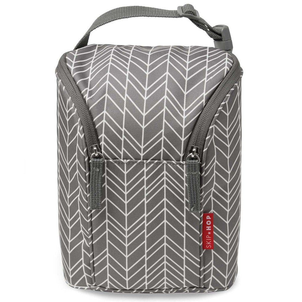 Skip Hop Grab & Go Double Bottle Bags in Grey Feather