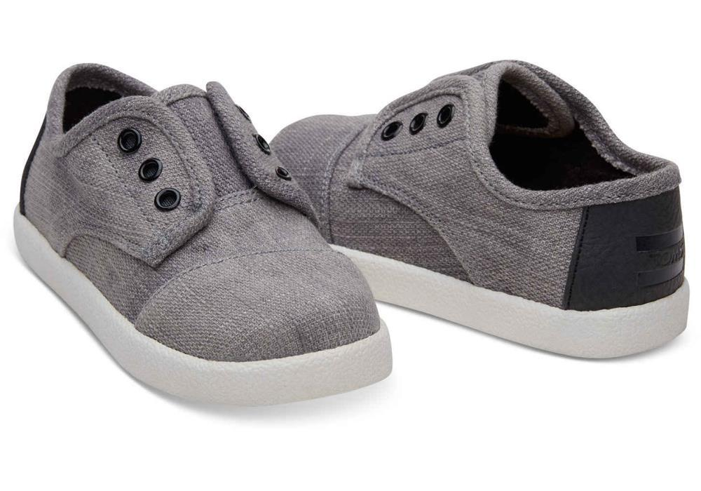 Tiny Toms Paseo Sneakers in Forged Iron Grey Colored Denim